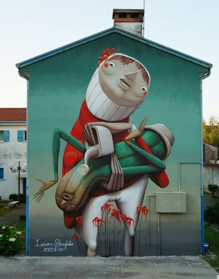'The Wrong Love', Street Art by Zed1, located in Dolo Veneto, Italy