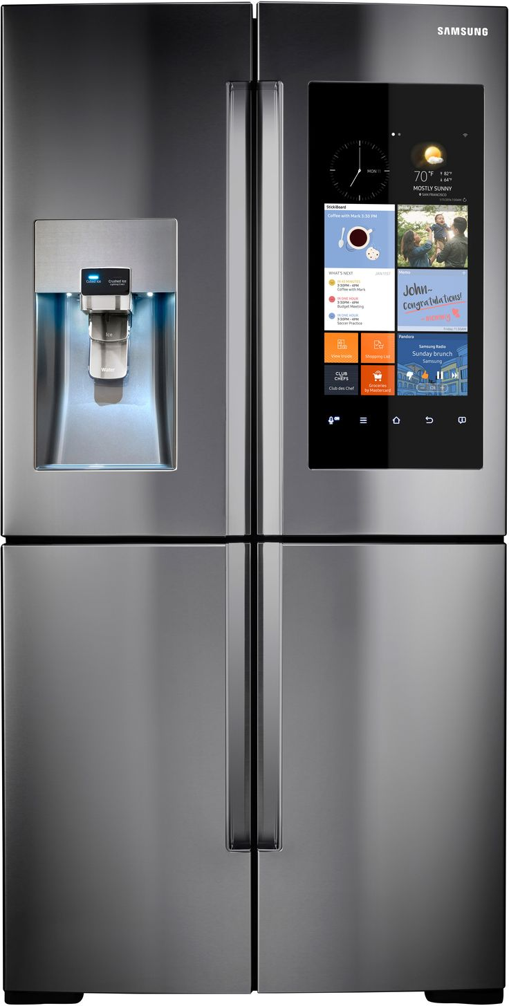 "Samsung Appliance 36"" Energy Star, Counter Depth French Door Refrigerator with 22.1 cu. ft. Capacity, 4 Doors, LCD Touchscreen Family Hub, Wifi Enabled, Water and Ice Dispenser: Stainless Steel RF22K9581SR at appliancesconnection.com This Samsung counter-depth French Door Refrigerator with 4 doors is an Energy Star unit that offers 22.1 cu. ft. of storage capacity and features a Family Hub with wifi enabled and LCD touchscreen. #samsung #trueinnovation #beyondperfection #counterdepth"