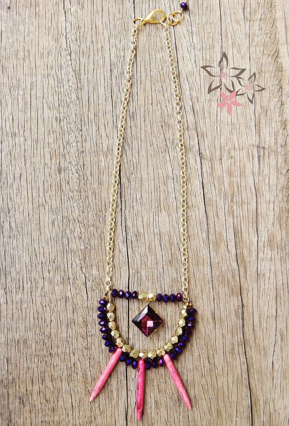 New Joleen Necklace / Gold Plated Brass Chain / Purple by Twininas
