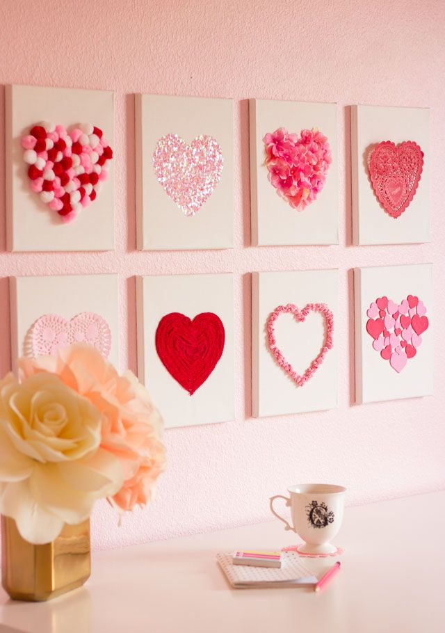 Valentine's Day DIY Canvas Heart Art - make with crafting odds & ends!
