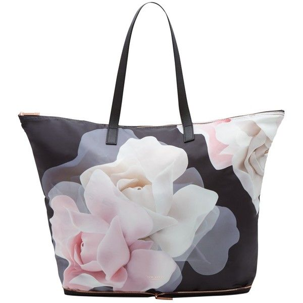 Ted Baker Lorrcan Shopper Bag, Black ($65) ❤ liked on Polyvore featuring bags, handbags, tote bags, zippered tote bag, zipper tote, ted baker purse, zip tote bag and shopping bag