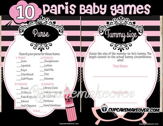 Complete your elegant French themed baby shower with our Perfectly Paris Baby shower games bundle. There's no better way to have fun and build precious memories for the baby. DIY printable fun games. #cupcakemakeover