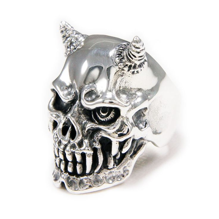DEMON HORNS SKULL 37GM 925 STERLING SILVER US SIZE 10.5 MEN'S BIKER RING cs-r012