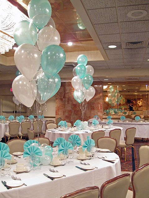 Tiffany Blue & White Balloon Centerpieces with Balloon Bases