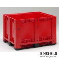 Kunststof palletbox op 3 sleden, 1200x1000x780 mm, 610 ltr, rood
