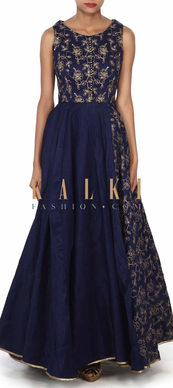 Buy this Navy blue anarkali suit adorn in zari and kardana embroidery only on Kalki