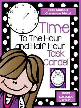 Fern Smith's Classroom Ideas Time To The Hour AND Half Hour Task Cards and Recording Sheet For 1.MD.B.3 at TeacherspayTeachers