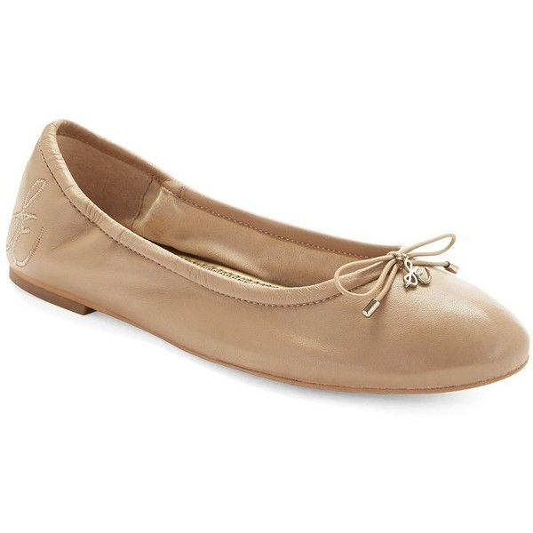 Sam Edelman Felicia Leather Ballet Flats ($100) ❤ liked on Polyvore featuring shoes, flats, nude, nude flat shoes, slip-on shoes, ballet flats, flat shoes and round toe ballet flats