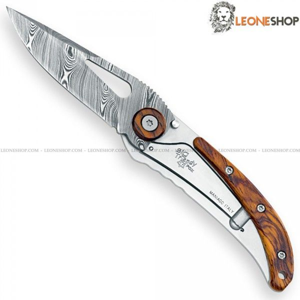 """FOX KNIVES BIG TRENDY Folding Damascus Knife 435DCB, handmade cutlery and damascus knives with blade of stainless steel 364 layers SUPER DENSE TWIST (ATS34 + PMC27) - DAMASTEEL of high quality - HRC 58/60 - Blade lenght 2.5"""" - Thickness 0.08"""" - 440C stainless steel handle with Cocobolo inserts, a very elegant and precious tropical wood coming from Central America - Frame Lock system - Back Clip - Overall lenght 6"""" - Supplied with NYLON pouch - Design by Moris Baroni - FOX KNIVES folding…"""