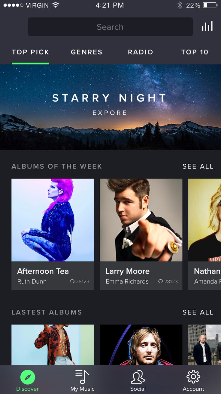 New Home Spotify Concept . App Design . UX . User Interface .