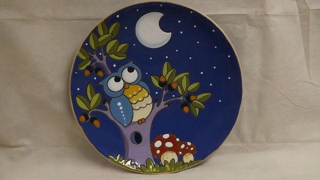 ceramica come mestiere: Piatti da muro con gufi in cuerda seca.