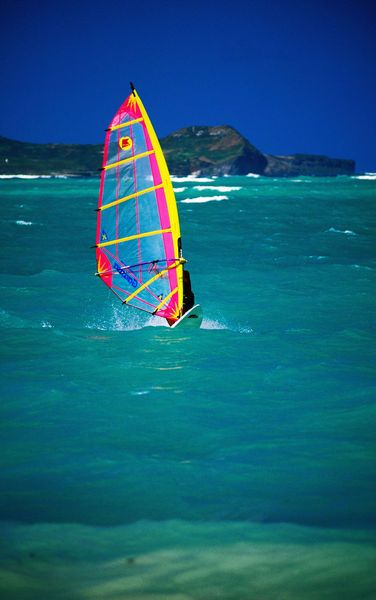 Windsurfer on Kailua Beach, Oahu, Hawaii. I miss windsurfing! hmmm maybe my next hobby