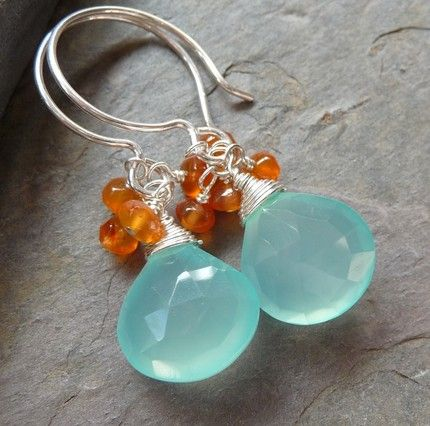 Sun and Sea -- Aqua Blue Chalcedony and Orange Carnelian Cluster Earrings in Sterling Silver