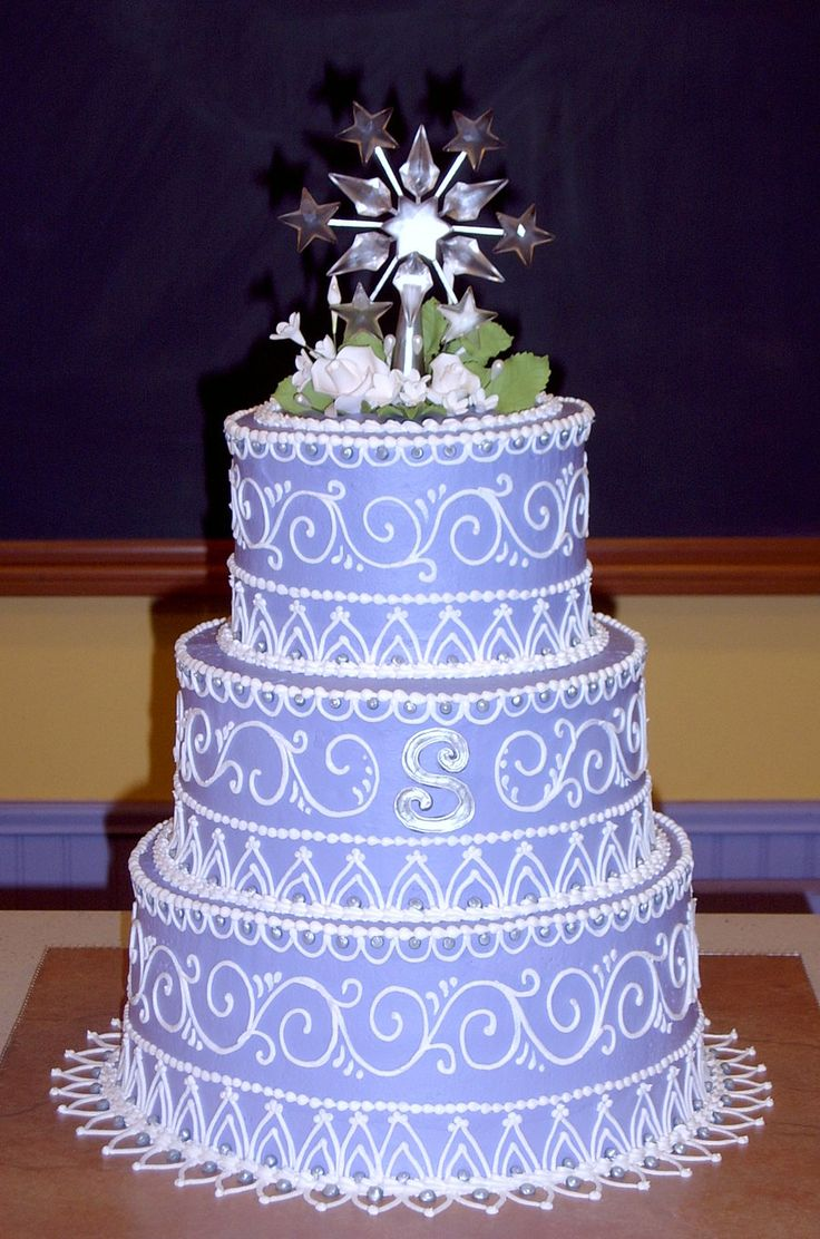 Purple sweet 16 by The-EvIl-Plankton.deviantart.com on @deviantART. With it's blue color and with piping artwork it would be a pretty wedding cake too.