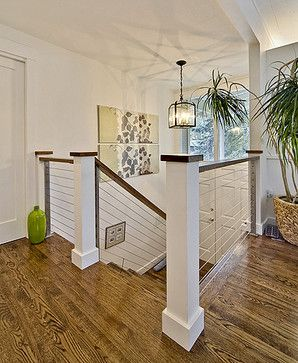 newel post  Metal railing staircase - contemporary - staircase - seattle - ID by Gwen
