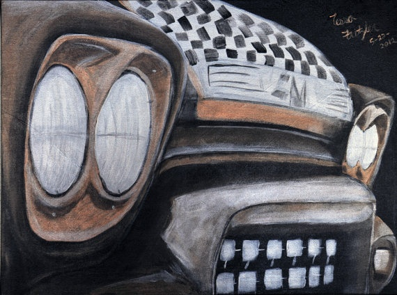 The Old Truck 18x24 original canvas painting by MemoriesByTessa, $400.00  Use coupon code HOLIDAY for 25% off