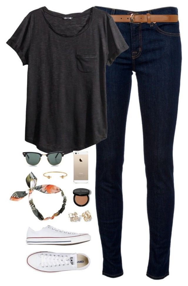 """""""ootd"""" by classically-preppy ❤ liked on Polyvore featuring J Brand, Dorothy Perkins, H&M, Converse, Ray-Ban, Kate Spade and J.Crew"""