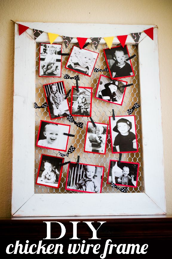 DIY Chicken Wire Frame...shabby chic. LOVE it!