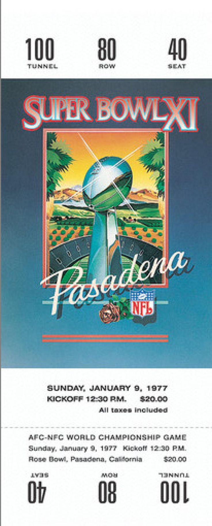 Played on January 9,1977, at the Rose Bowl in Pasadena, California. The MVP of the game was Fred Biletnikoff.  The Average ticket cost was $...