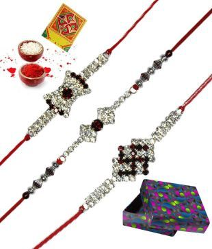 RajLaxmi Unique Swastik Designed CZ With American Diamond Rakhi - Set of 3