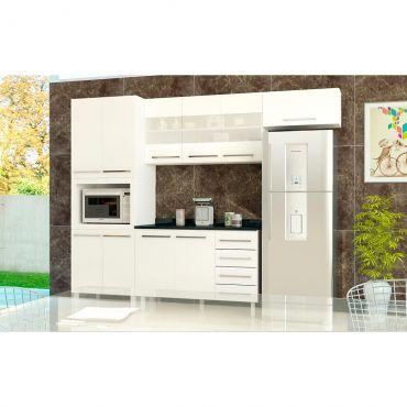 Cozinha Completa Luciane Neo Modulada com Paneleiro Armário Aéreo Armário de Geladeira + Balcão - Branca
