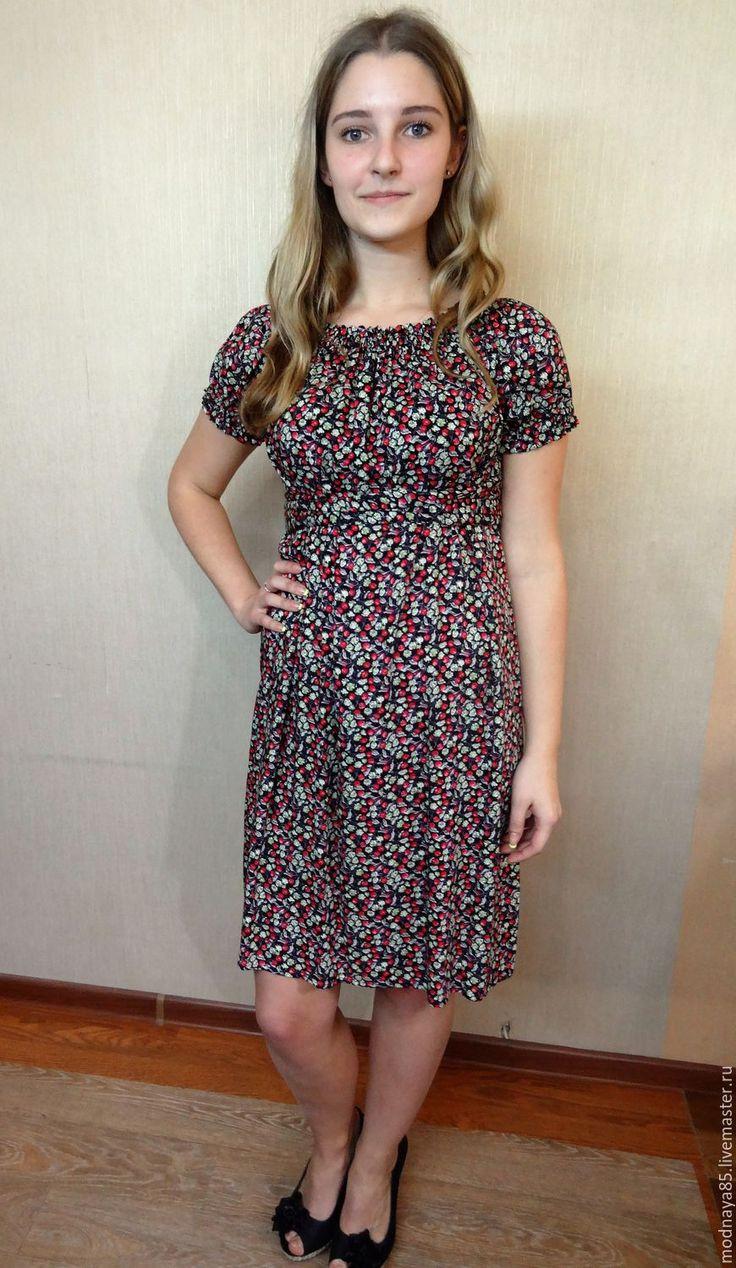 """Купить Платье """" Вишенка"""" - комбинированный, цветочный, короткое платье, короткий рукав, сарафан летний"""