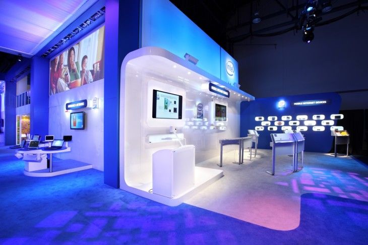 Blue White Led Lights Set On The Partition And The Wall With Modern Furniture Style - pictures, photos, images