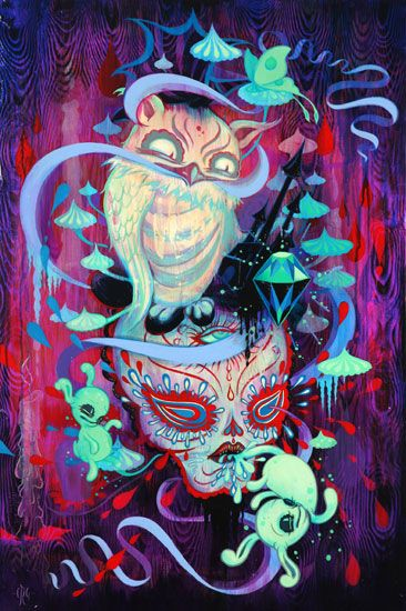 Owl - n - Skull ~ Artist: Camille Rose Garcia ~ I think the skull in this piece has a Day of the Dead or sugar skull look to it... ♥
