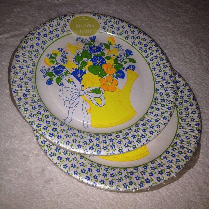 VTG NOS Paper Plates Hallmark Wedding Baby Shower Retro 60s 70s Floral Flower #HallmarkCorpInc #CocktailPartyWeddingBabyShowerBirthdayetc