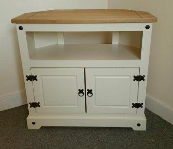 £89.56 Tall Mercers Furniture Corona Corner TV Unit, Wood, Cream/Antique Pine