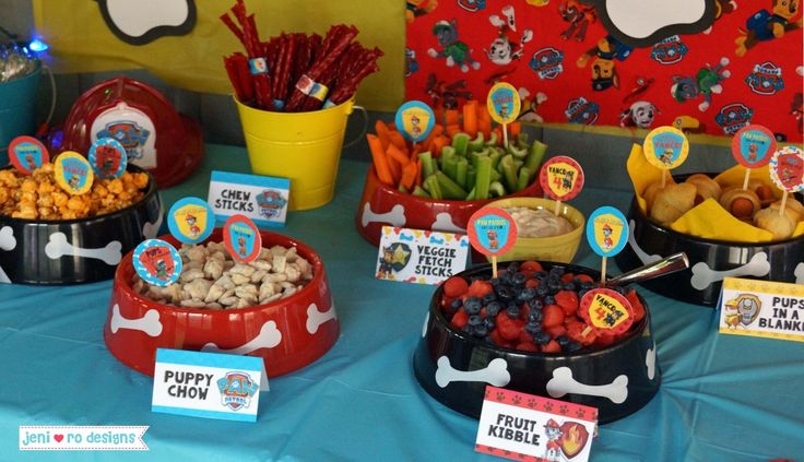 Paw Patrol 4th Birthday Party - food, food tents, party circles.  jenirodesigns.com  #jeniroparties