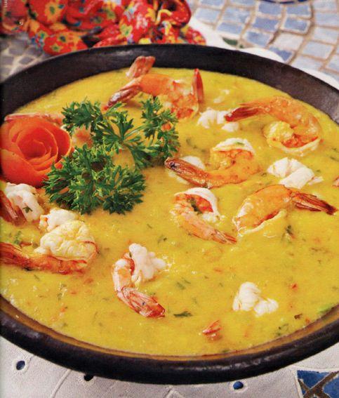 Bobó de Camarão, Brazilian style shrimp gumbo (this recipe is missing  the boiled manioc )