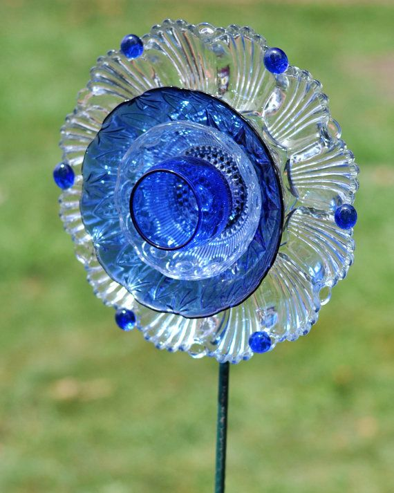 "Repurposed Glass Garden Flower, Wall or Garden Art - Made of Vintage Glass Plates, ""Skyla"" Cobalt Blue Scalloped Glass Flower"