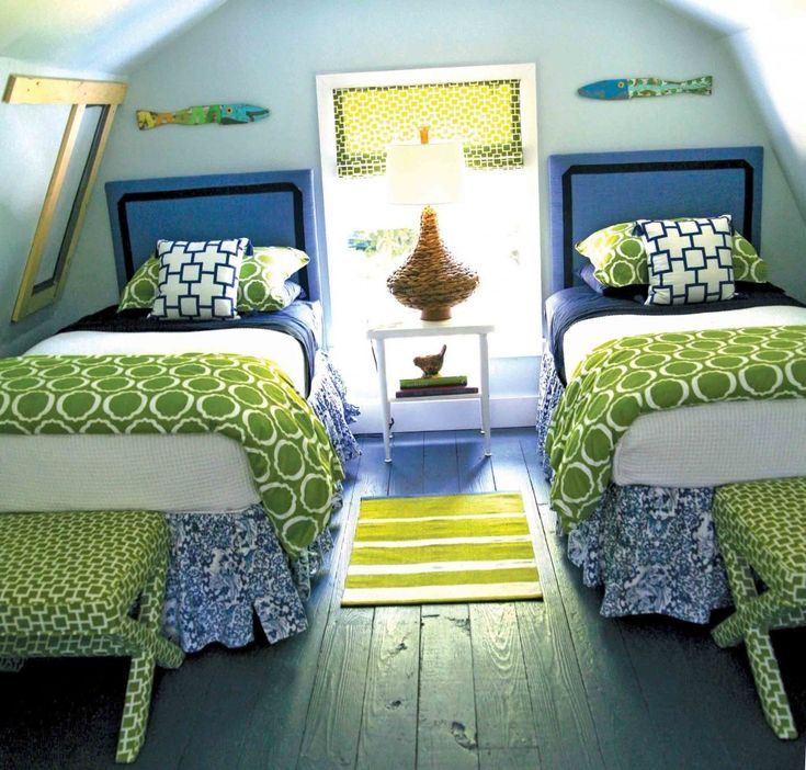 How to Use Pattern in Small Spaces - Tips & Ideas!  Blue and green bedroom