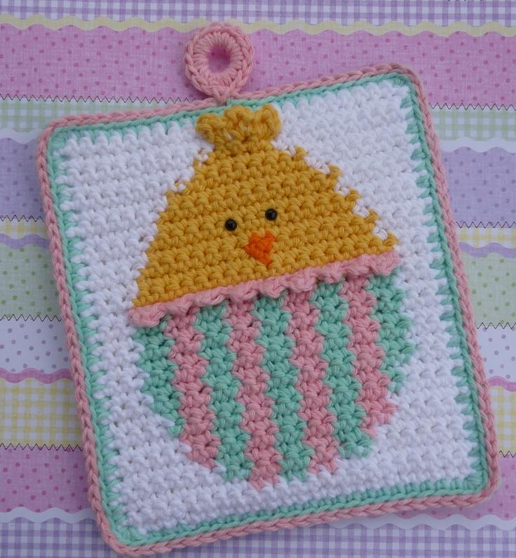 Easter Pot Holders Crochet: -Easter Egg Chick Crochet Potholder PATTERN By Bearsy43 On