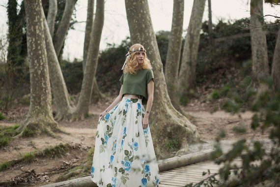 "Bohemian wedding skirt – Bohemian romantic floral silk long skirt – Boho chic skirt – Elegant satin bambula skirt ""Butterfly Collection"" – Robes"