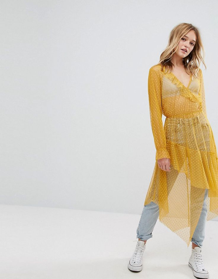 Bershka Dobby Mesh Maxi Dress - Yellow
