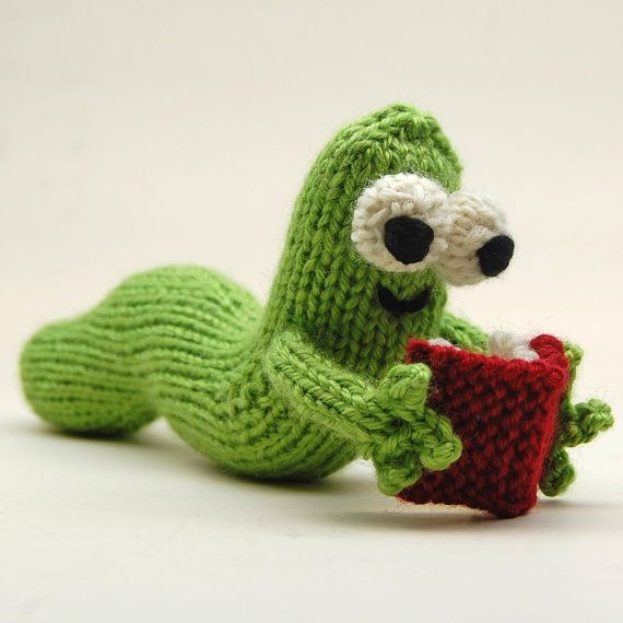 Knitting Patterns Plush Toys : Bookworm Amigurumi Plush Toy Knitting Pattern PDF Digital Download Toys, Pa...