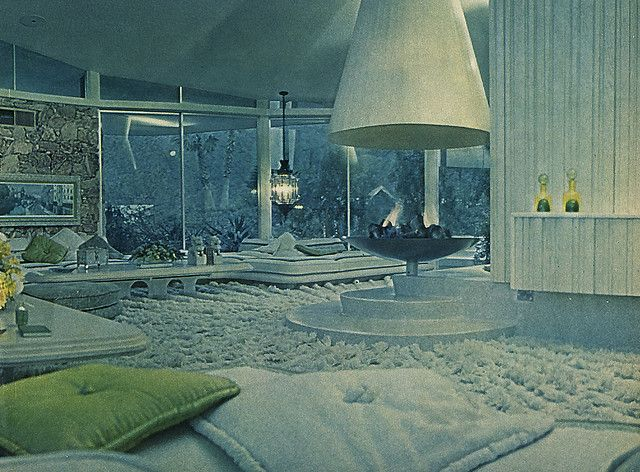 Alexander Presley Home Interior 1962  Best known as Elvis and Priscilla Presleys honeymoon retreat, and also known as the House of Tomorrow, this Palm Springs home was orginally a custom-built residence for Bob and Helene Alexander. Architects - Palmer  Krisel. 1962. The image above was taken from a September 1962 piece in Life Magazine that profiled the futuristic home and the Alexander family.