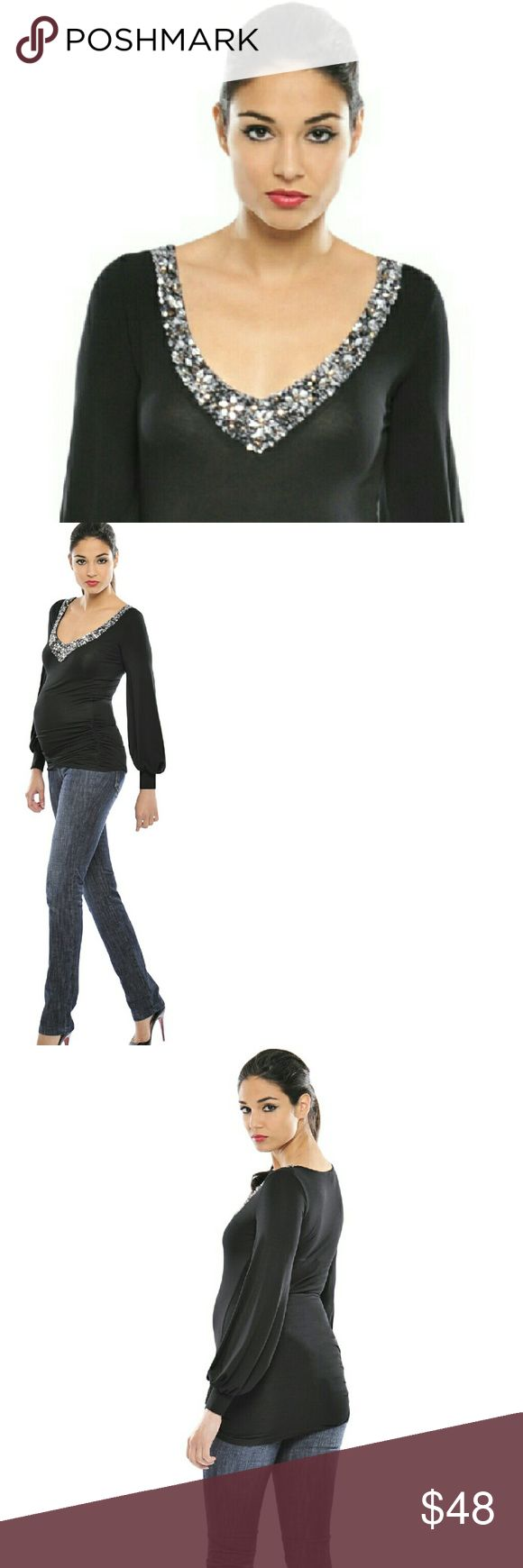 Olian NWT Maternity Gorgeous  Party Top Shirt L You've been looking all over for the perfect top to wear to that holiday party and now you found it! This absolutely beautiful V-neck top from Olian Maternity is perfect for any event including New Year's Eve! The fabric is delicious and the length is perfect, and as with all Olian items, you will wear this again and again because good clothes last forever.? Please check out our other maternity listings and enjoy your pregnancy! Olian Tops