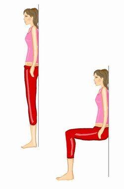 La chaise  Placez-vous debout, bien droite, les pieds plantés dans le sol. Descendez lentement en flexion jusqu'à atteindre l'horizontale avec vos cuisses et bloquez. Restez en position le temps demandé.  Programme :  - Débutante : 3 X 30 s avec 2 min de repos.  - Intermédiaire : 4 X 45 s avec 2 min de repos.  - Confirmée : 5 X 1 min 15 avec 1 min 30 de repos.
