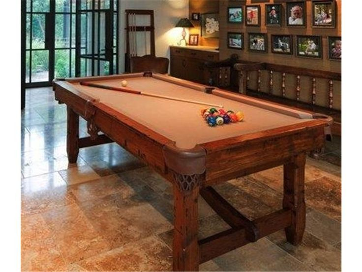 Custom billiard table with matching cue rack. Wood Furniture Austin
