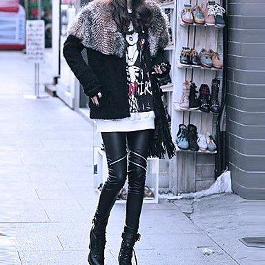Kvinner+Leather+Zip+Up+Fashion+Skinny+Leggings+–+NOK+kr.+70