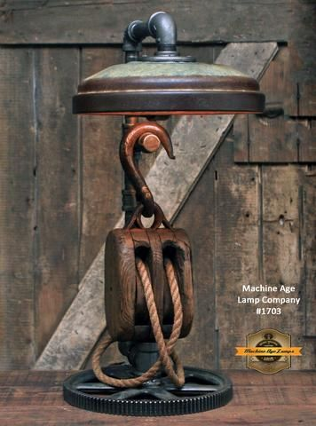Steampunk Industrial / Farm / Antique Wood Block and Tackle / Gear / Feeder Shade / Lamp #1703 sold