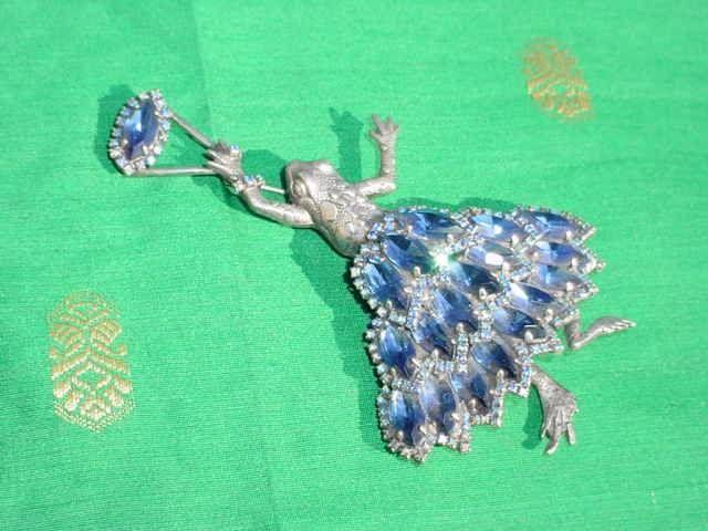 Large OOAK Rhinestone Frog Brooch Pin by Danny Pollak Canadian Jewellery Artist #DPollak