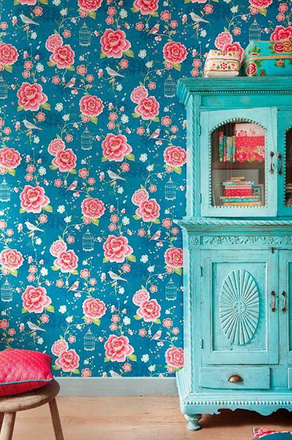 rosentapete wandgestaltung ideen vintage möbel