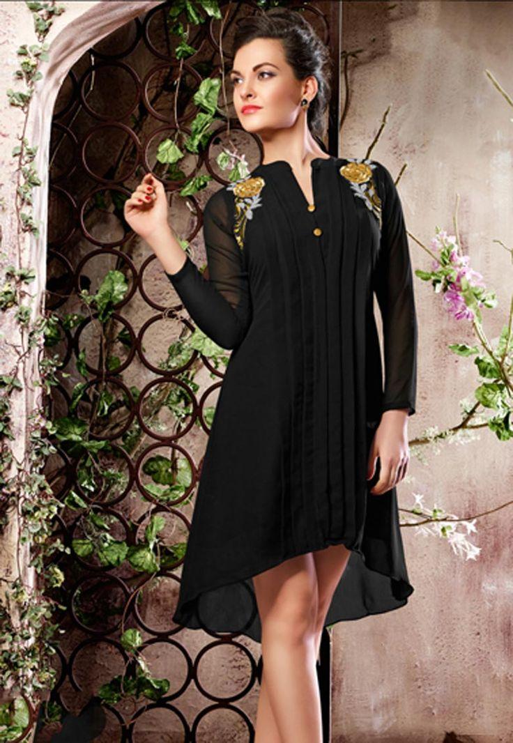 #Jaffrey #Black #Poly #Georgette #Kurti   Jaffrey Black Poly Georgette Resham Embroidery .Product colour & Patch Patta.  INR: 1,418.00  With Exclusive Discounts  Grab:http://tinyurl.com/zsv4u5v
