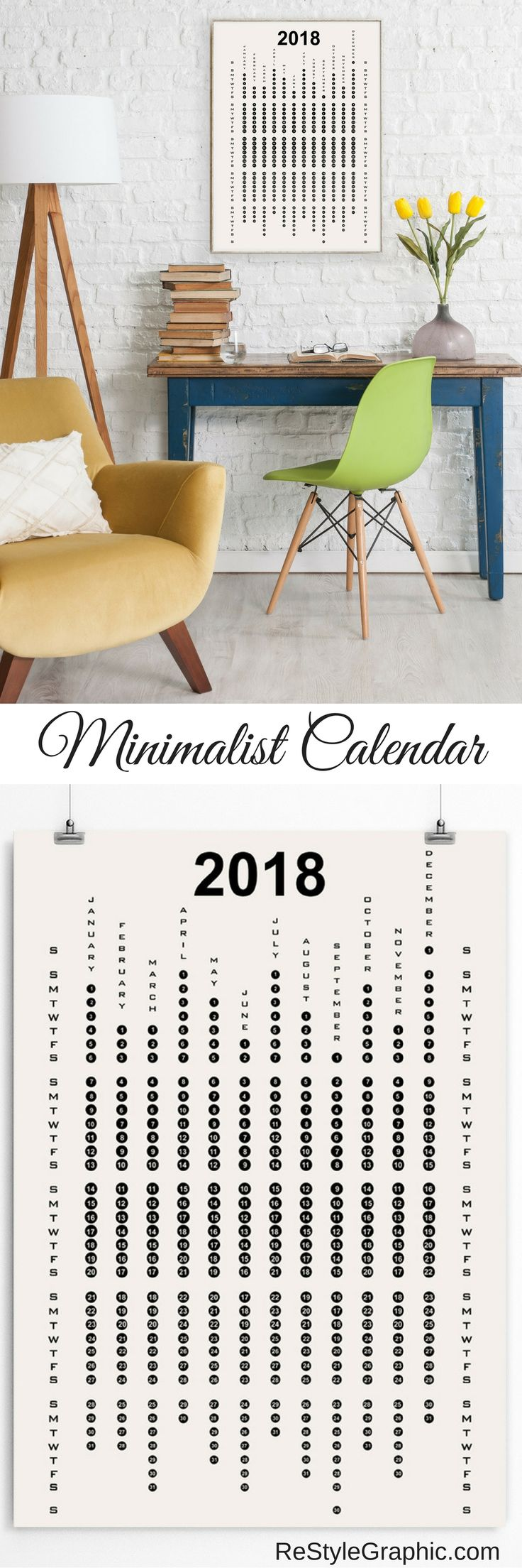 Contemporary 2018 wall calendar. Black and white calendar will be a perfect decoration of modern interiors, for home and office. Black and white colors on restylegraphic.com