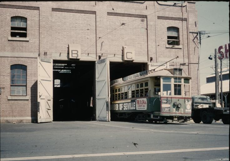 136068PD: Tramways workshops, Hay Street, East Perth, 1958. The Carbarn is to the right across Bay St. http://encore.slwa.wa.gov.au/iii/encore/record/C__Rb2913538__S136068pd__Orightresult__U__X3?lang=eng&suite=def