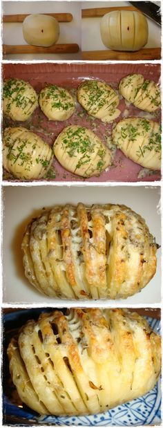 Love this idea ~ Sliced Baked Potatoes with Herbs and Cheese | Cook Blog ~ Have fun!